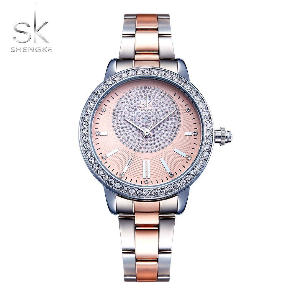 Shengke Bracelet Women Watch New Quartz Top Brand Luxury Fashion Crystal Wristwatches Ladies Gift Relogio Feminino baosaili brand luxury crystal gold watches women ladies quartz wristwatches bracelet relogio feminino relojes mujer bs001