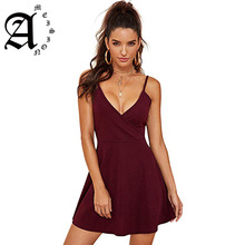 купить Ameision Black Party Sexy Backless Solid Wrap Sleeveless Natural Waist Cami Short Dress Summer Club Night Out Women Dresses по цене 1354.08 рублей
