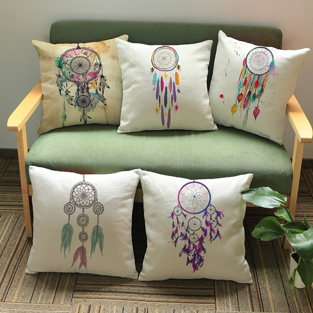 Hand Painted Dream Screen Printing Cotton Linen Pillow With Home Decoration Cushion  Cover Sofa Cushion