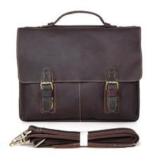 цена на Men's Dark Brown Briefcase Messenger Handbags Bags Man Vintage Genuine Cow Leather Travel Crossbody Messenger Shoulder File Bag