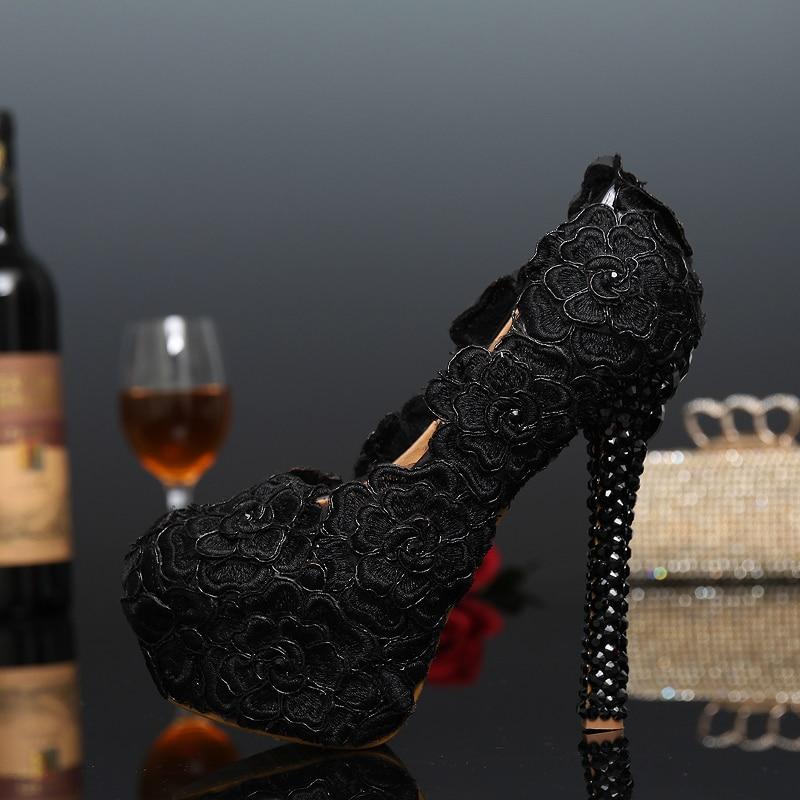 Black Lace Evening Dress Shoes Womens Rose Flower Wedding Shoes Black Lace High Heel Shoes Cocktail Dress Pumps Bridesmaid Shoes вечернее платье mermaid dress vestido noiva 2015 w006 elie saab evening dress