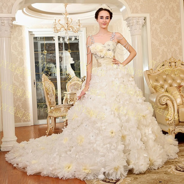 2015 New Princess flower tube top Wedding dress tulle lace up ...