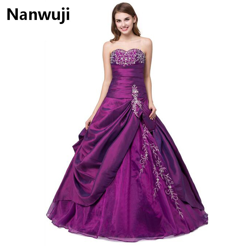 Cheap Quinceanera Gown Sweet 16 Ball Gowns Organza Vestidos de Debutant Purple Puffy Quinceanera Dresses M14