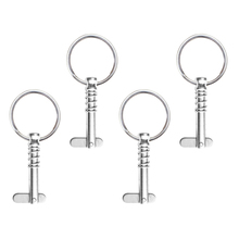 4 Pieces Boat Quick Release Pin Bimini Top Fittings Hardware 1/4 Stainless Steel Spring Loaded with Pull Ring