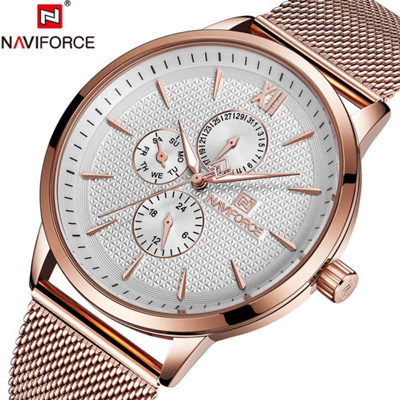 2018 NAVIFORCE Brand Sports Watches Man Full Steel Casual Waterproof Quartz Watch Men Military Watch Clock Relogio Masculino naviforce men s military sports watches men led digital watch waterproof full steel quartz watches man clock relogio masculino