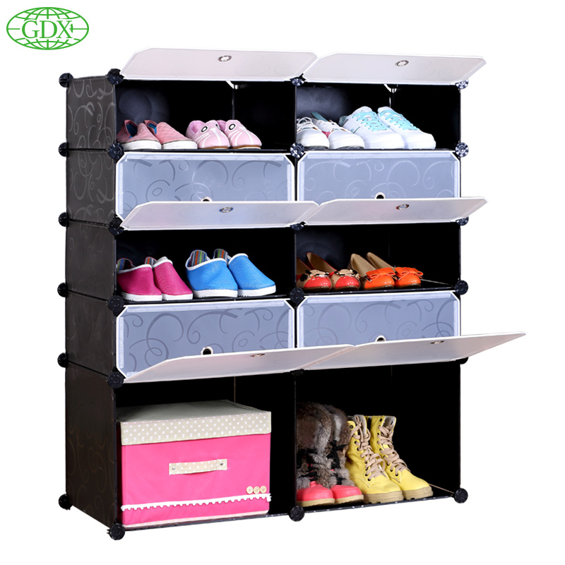 GDX Brand New PP Plastic Shoe Rack Stand Save Space Resin  Cabinet Home Combination Dustproof Shoes Storages Free Shipping