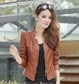 2014 новое прибытие женской моды тонкий Простой Кожаная куртка пальто женщин Бесплатная доставка высокого качества кожаная куртка Дамы SS69