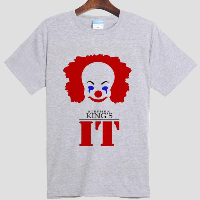 Stephen king The clown soul back Stephen king it DIY men's  short sleeve T-shirt cotton Round collar 008 gray white