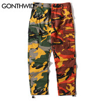 GONTHWID Two-Tone Camo Pants Hip Hop Patchwork Camouflage Military Cargo Trouser Casual Cotton Multi Pockets Pant Streetwear Casual Pants