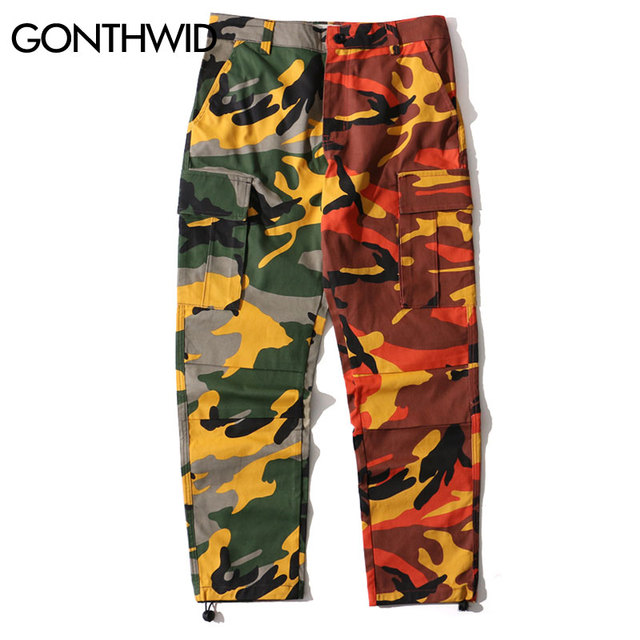 b693abb05d8 GONTHWID Two-Tone Camo Pants Hip Hop Patchwork Camouflage Military Cargo  Trouser Casual Cotton Multi Pockets Pant Streetwear