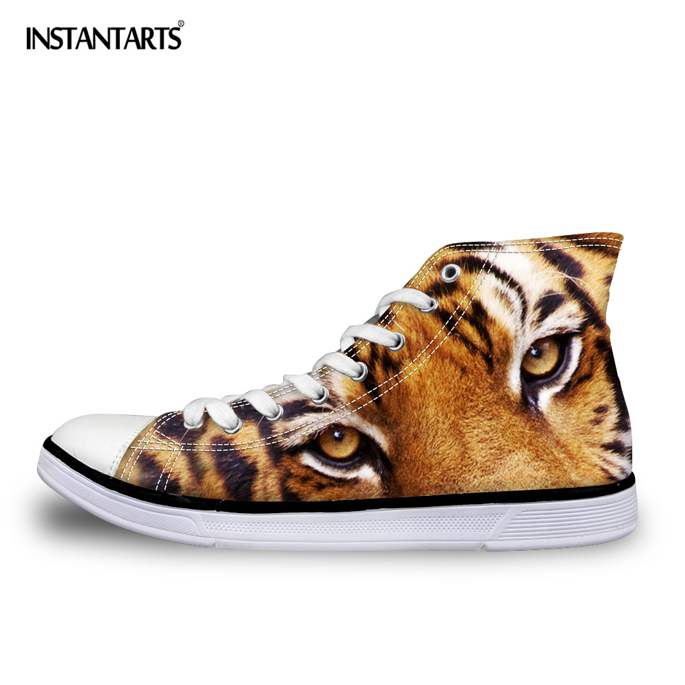 INSTANTARTS 2018 Fashion Men's High-top Vulcanized Shoes Cool 3D Zoo Animal Tiger Head Print Men High Top Canvas Shoes Male Flat цена