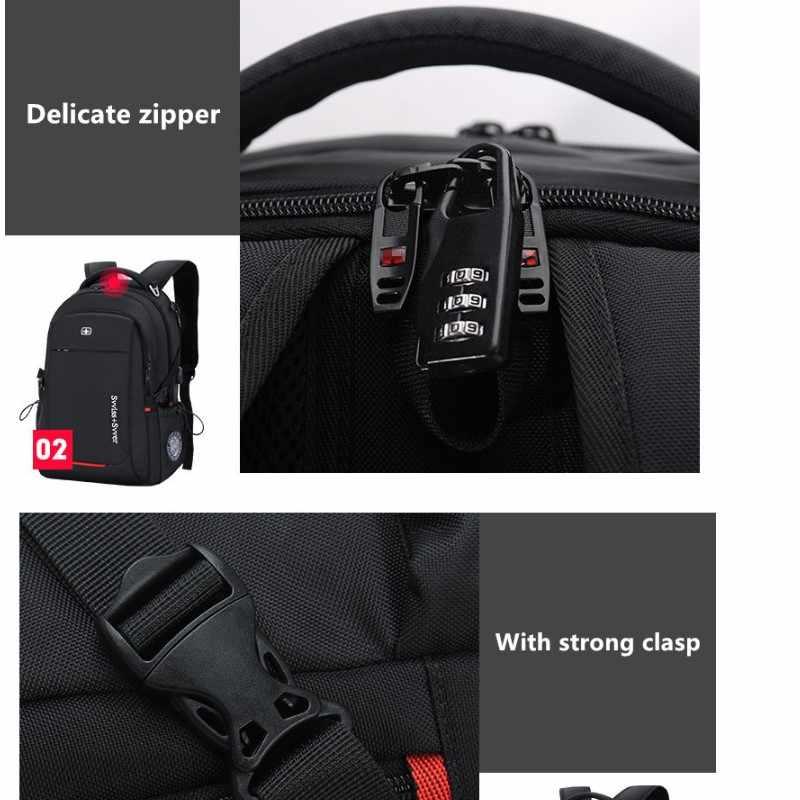 Svvisssvver Pria Multifungsi USB Pengisian Bisnis Fashion Kasual Perjalanan Anti-Theft Tahan Air 15.6 Inci Laptop Tas Ransel Pria