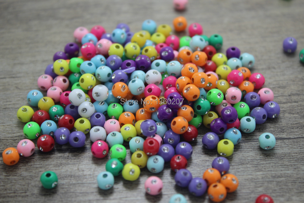 500 unids 10mm azar fluorescente color mixto acrílico redondo Taladro dot  granos de la bola DIY joyería a8badf405be