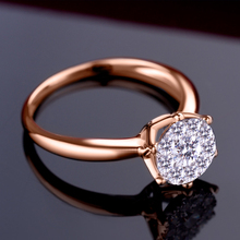 0.6CT effect SI/H Diamond Engagement Rings 18kt Rose Gold Promise Ring Fine Jewelry Wedding/Engagement Round ring