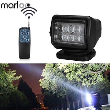 Marloo 7 Inch 50W Wireless Remote Control LED Vehicle Work Light Searchlight Magnetic Base Car Truck Boat Marine Search Light