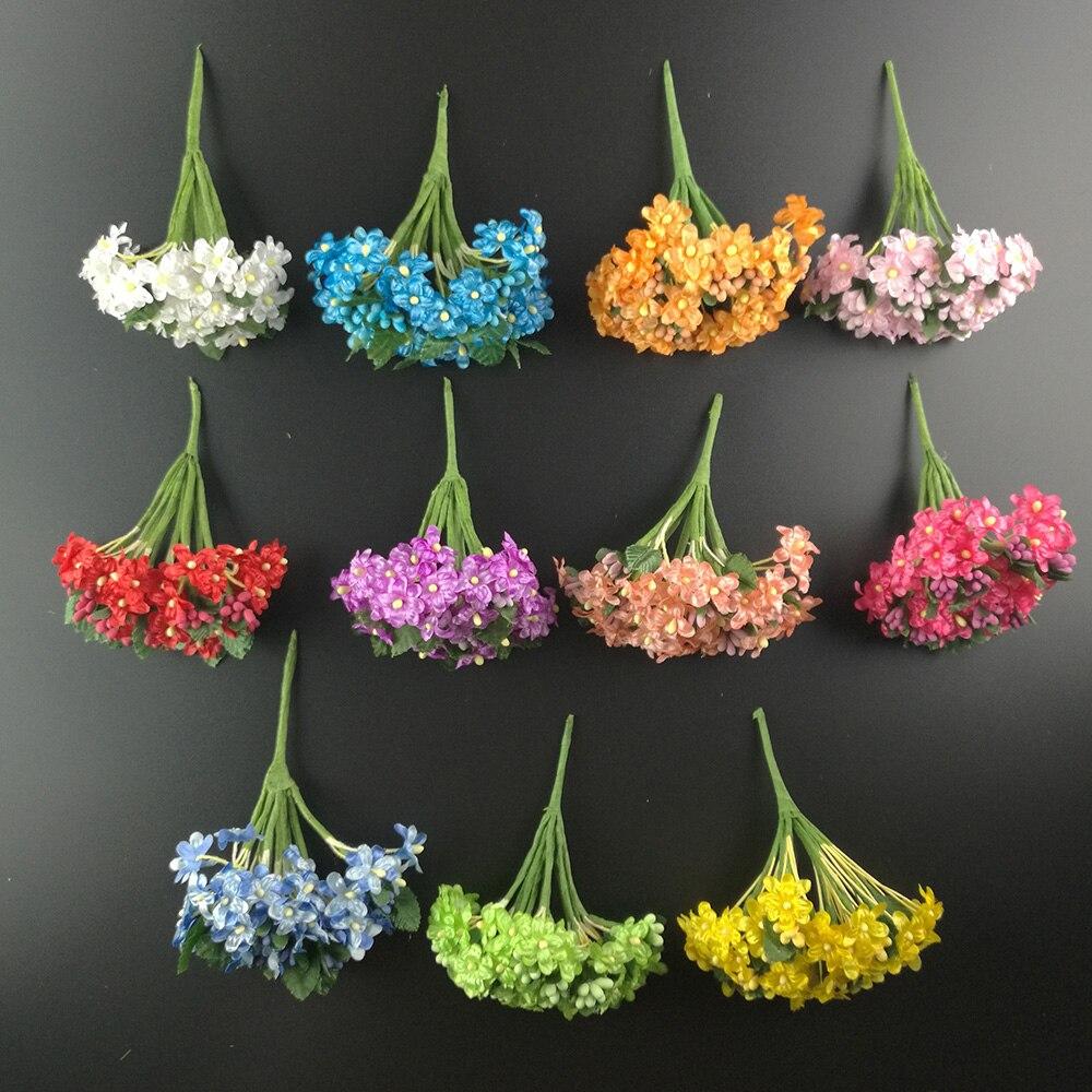 12 шт. мини Ткань алычи blossom искусственный цветок шелк Детские дыхание цветочный букет механизмы стол Weddding Аксессуары