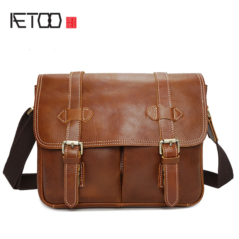 AETOO Leather camera bag multi-functional European and American fashion shoulder oil shiny leather camera bag leather bag best selling brand leather shoulder bag 2018 new oil wax leather embroidery camera bag european and american fashion bee small s