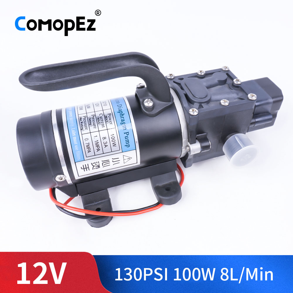 DC 12V 100W 130PSI 8L / Min Agricultural Electric Water Pump Black Miniature High Pressure Diaphragm Water Sprayer Car WashDC 12V 100W 130PSI 8L / Min Agricultural Electric Water Pump Black Miniature High Pressure Diaphragm Water Sprayer Car Wash