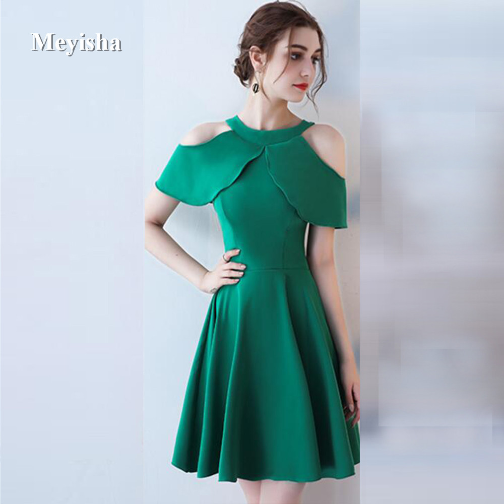 ZJ7006 Elegant Cocktail Dresses Party Women Satin Short Dresses Sexy cocktail 2018 Green Pink White Silver Black Plus Size