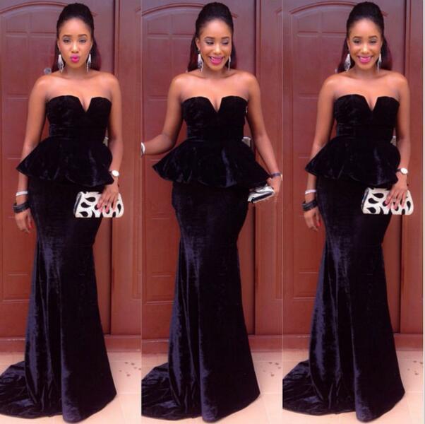 Black Velvet African Evening Gowns Long Mermaid Prom Dresses With Peplum 2017 Nigerian Ankara Dress Vestido Longo Para Festa In From