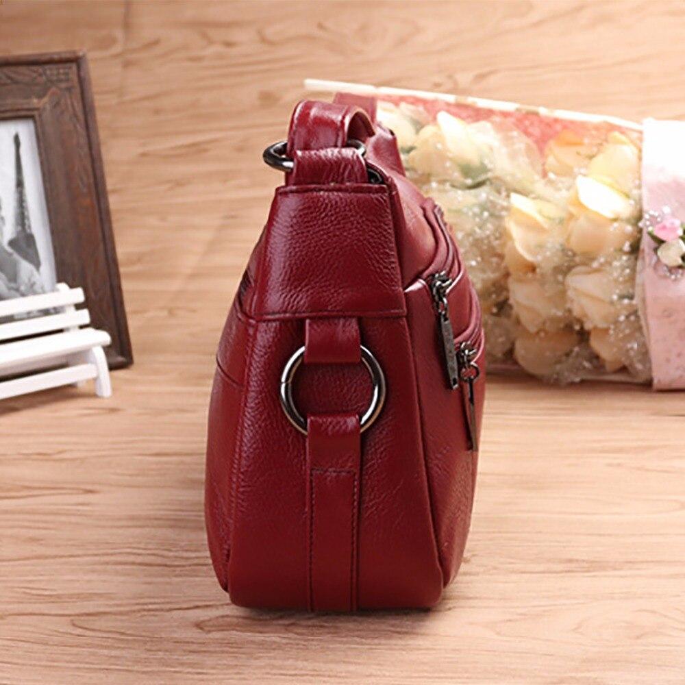 100% 本革の女性メッセンジャースリングショルダーバッグファッションカジュアルレディースサッチェル有名なブランドの女性ッグホーボークロスボディバッグ  グループ上の スーツケース & バッグ からの ショッピングバッグ の中 3
