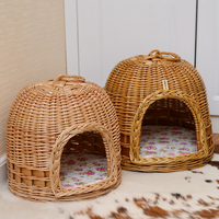 Rattan Wicker Small Pet Dog Bed Basket Puppy Dog House Mat Pet Summer Four Season Teddy Supplies for Small Big Dog Cat Pet