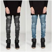 2015 Hi-Street Mens Biker Jeans Motorcycle Slim Fit Washed Black Grey Blue Moto Denim Pants Joggers For Skinny Men