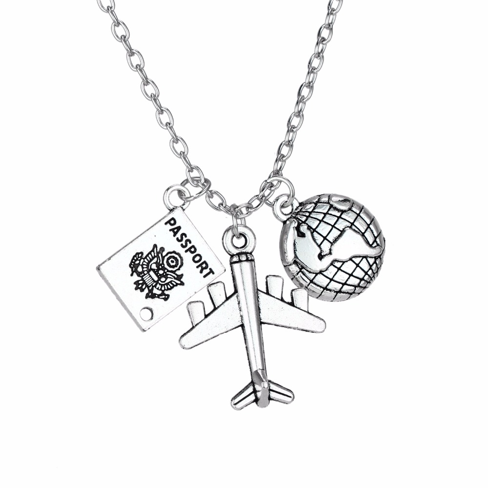 24PC/Lot Wanderlust Travelers Necklaces Gifts Aircraft Plane Globe Earth Passport Pendant Traveling The World Necklace Jewelry