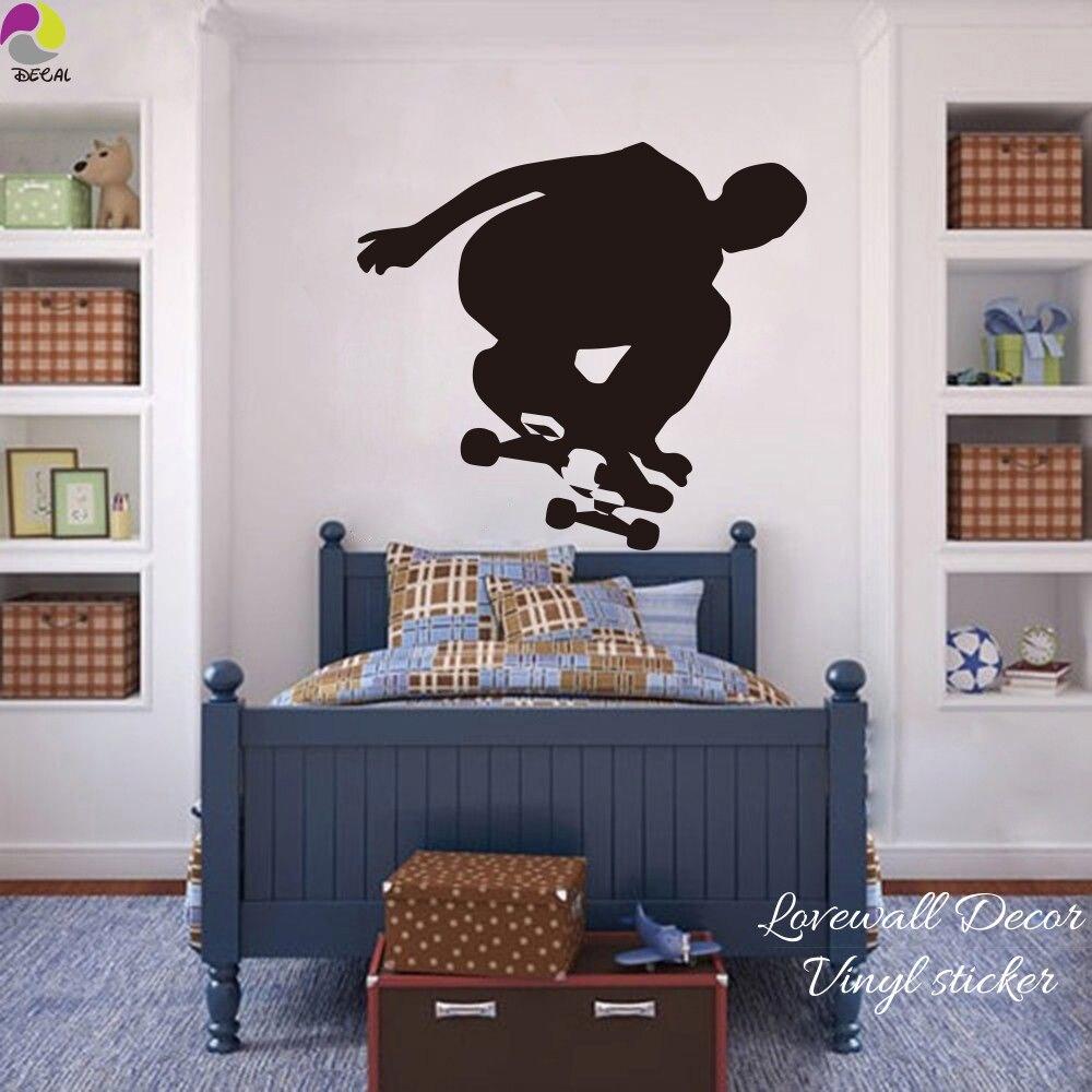 Skateboard Wall Sticker Bedroom Boy Room Skater Skating Sport Wall Decal Living Room Cut Vinyl Home Decor Easy Wall Art Mural