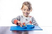 1 Stücke Neue Baby platzierung set Silikon Fun Tischset & PlateSilicone Baby Platte Lächelndes Matte Küche platzierung set