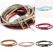 Ladies Women Fashion Bowknot Skinny Leather Thin Waist Belt Woven Waistband Belts
