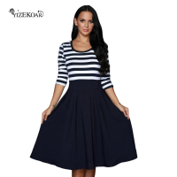 YIZEKOAR 2017 Cute A Line Patchwork Womens Dresses Casual Striped Skater Dress Elegant Vintage Dot Summer