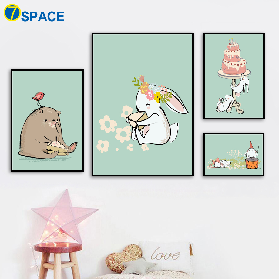 7-Space Modern Kawaii Rabbits Canvas Painting Wall Pictures For Kids Room Watercolor Art Print Poster Decor No Frame