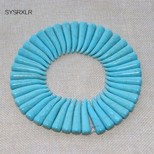 Fashion New 20 Pcs / Pack Blue Turquoise Beads Size Loose Natural Stone For Jewelry Making Diy Handmade Necklace Supplies