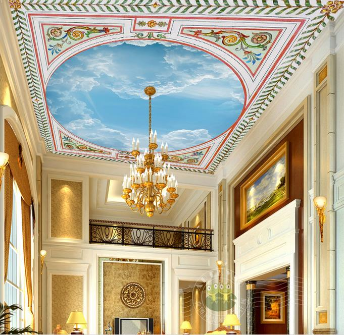 Custom 3d wallpaper for ceiling circle sky ceiling for Kitchen wallpaper 3d