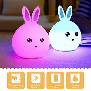 Image 2 - 토끼 램프 토끼 LED 밤 빛 어린이 Nightlight 아기 잠자는 머리맡 램프 USB 실리콘 탭 제어 터치 센서 빛