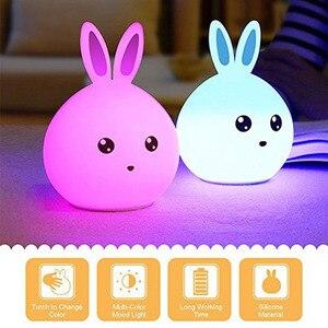 Image 2 - Rabbit Lamp Bunny LED Night Light Childrens Nightlight Baby Sleeping Bedside Lamp USB Silicone Tap Control Touch Sensor Light