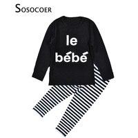 New 2016 Baby Suit 2 Piece Set Autumn Boys Long Sleeve T Shirts Stripe Pants Casual
