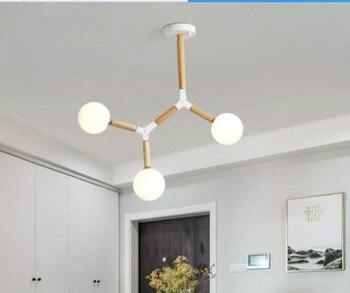 Creative Nordic LED Chandelier With Glass Ball For Living Room Bedroom Wooden Chandeliers G9 Indoor Lighting Fixtures