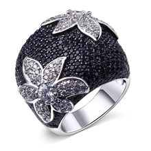 Big Flower Rings For Women Wedding Party Statement Jewelry Rhodium Silver-color Black Clear CZ Anillos Mujer Biker Jewelry(China)