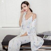 Pijama Promotion Pijamas New Women Pajama Sets Cotton Sleepwear Long Sleeve White Sling Trousers Leisure Homewear