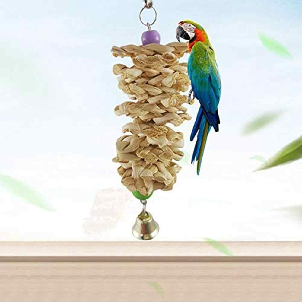 SaiDeng ของเล่นนกแก้ว parrot Bell ไม้ธรรมชาติหญ้าเคี้ยวกัดแขวนกรง Swing Climb Chew ของเล่น - 25