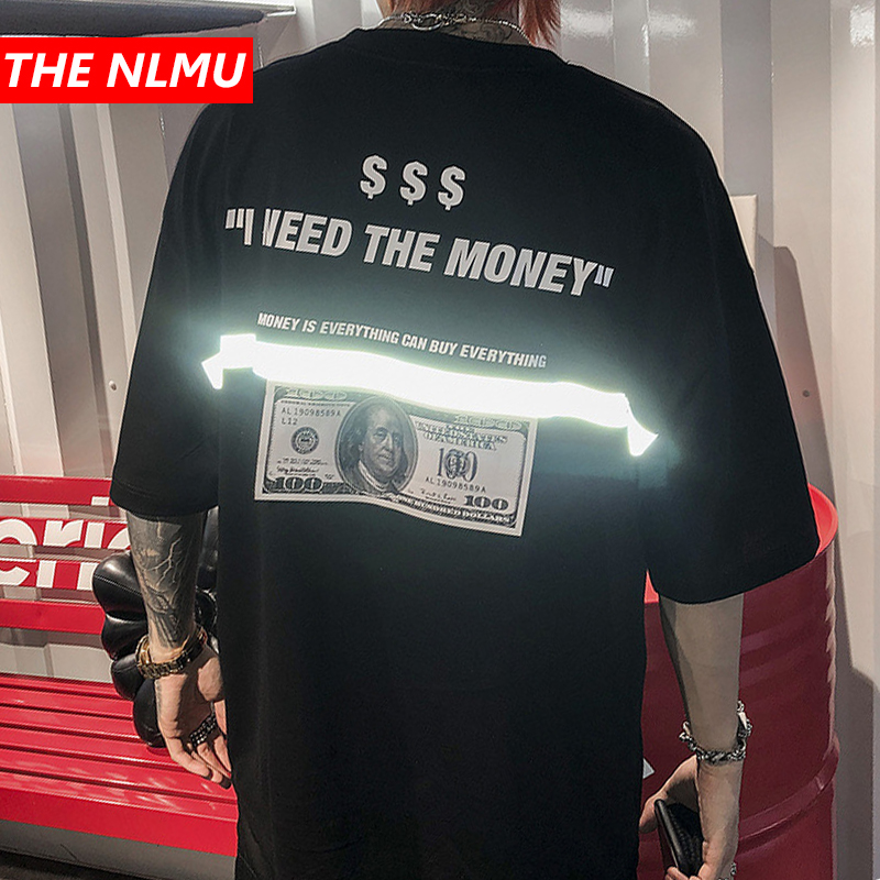 Men tshirts US Dollar Reflective Strip Maria Print Hip Hop T shirts Men Streetwear 2019 Fashion Summer Spring Tops Tees HS76-in T-Shirts from Men's Clothing