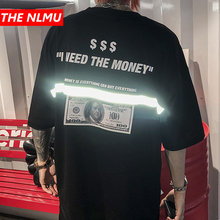 Men tshirts US Dollar Reflective Strip Maria Print Hip Hop T shirts Men Streetwear 2019 Fashion Summer Spring Tops Tees HS76