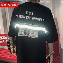 เสื้อยืดผู้ชาย US Dollar แถบสะท้อนแสง Maria พิมพ์ Hip Hop เสื้อยืดผู้ชาย 2019 แฟชั่นฤดูร้อนฤดูใบไม้ผลิ Tees HS76