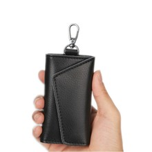 Genuine Leather Cow Leather Key Wallet Card Holder Business Organizer Housekeeper Keychain Purses Men Women Pocket Car Keys Bag(China)