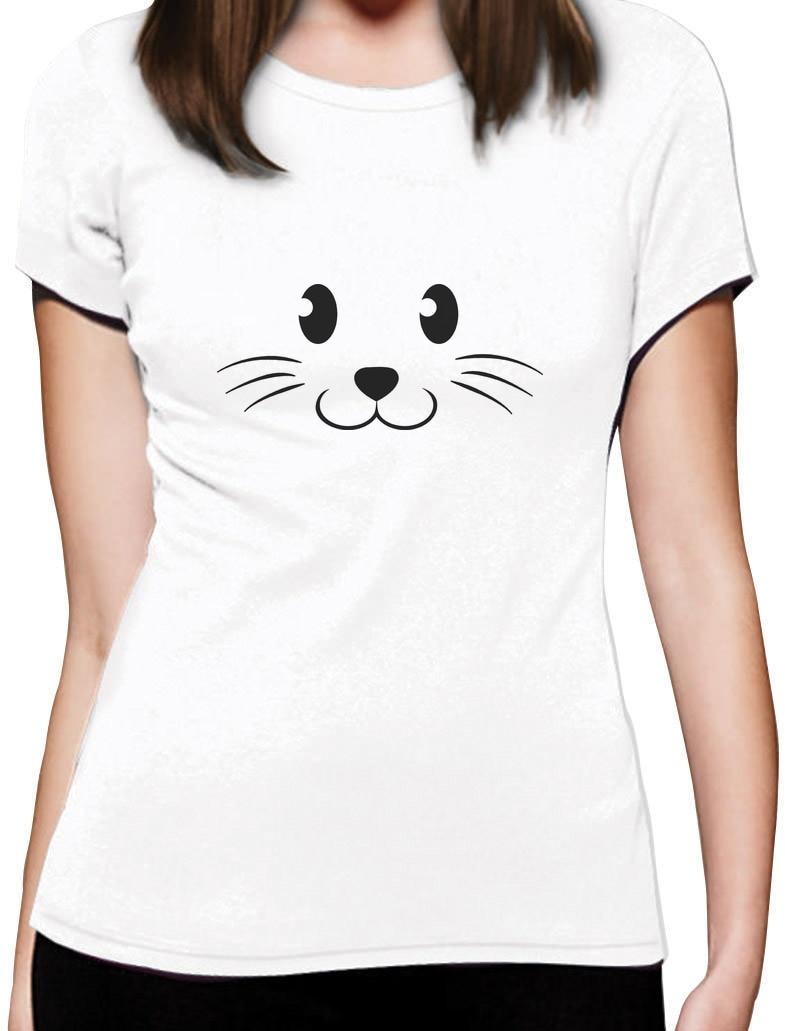 2018 Fashion Cute Face Halloween Easy Costume Women T-Shirt Gift Casual  Short Sleeve Shirt Tee 100% Cotton Short Sleeve 5549957b40d