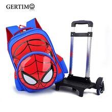 Children Waterproof Cartoon Spiderman Backpacks on Wheels Primary School Trolley Bags for Kids  Backpack with Wheels Backpacks
