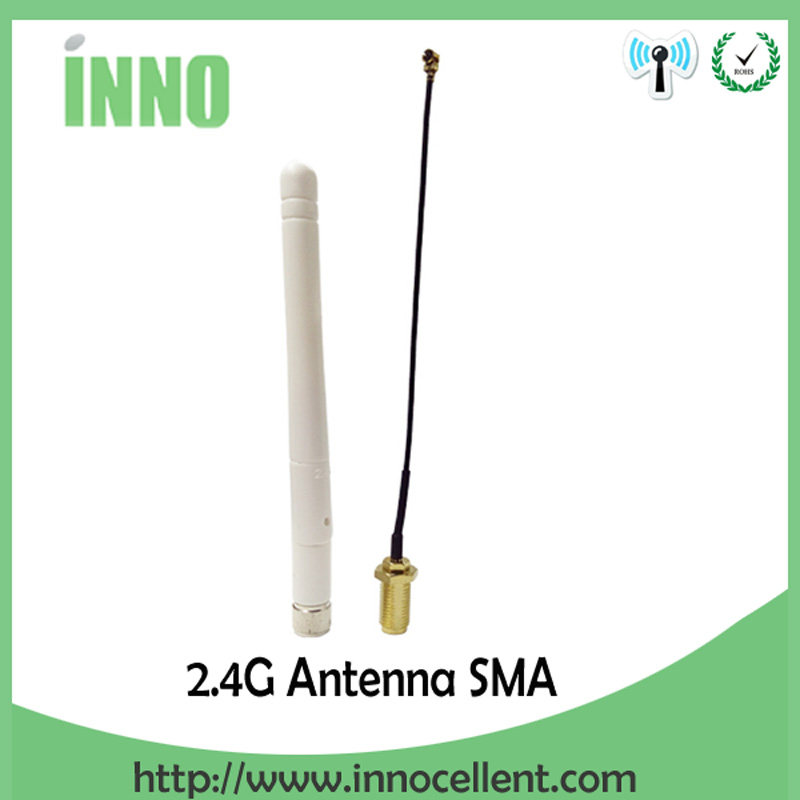 10pcs/lot 2.4GHz 3dBi Omni WIFI Antenna with SMA male connector + IPX to RP-SMA Jack Male Pin Extension Cord Pigtail Cable