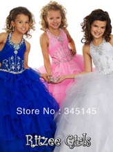 Hot Selling Ball Gown Halter Floor Length Tiered Organza Lace Up Discount Pageant Dresses For Girls Beads Flower Girl Dresses